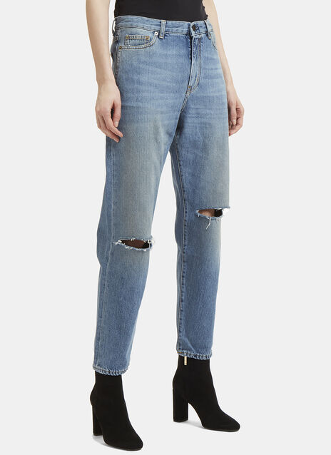 Saint Laurent Loose Fit Slit Knee Jeans