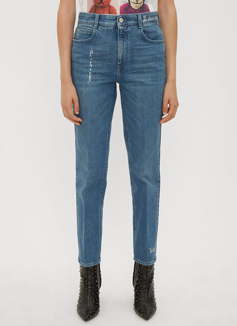 Stella McCartney Slogan Embroidered Jeans
