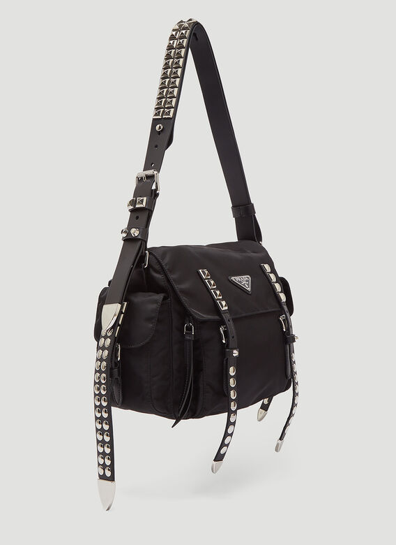 224fe9b1b Prada Nylon Studded Shoulder Bag in Black | LN-CC