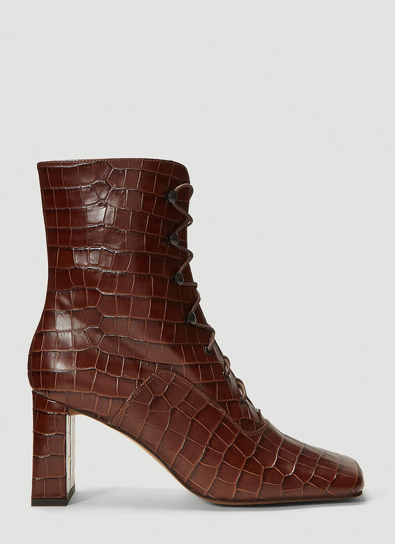 BY FAR Claude Embossed-Leather Boots 1
