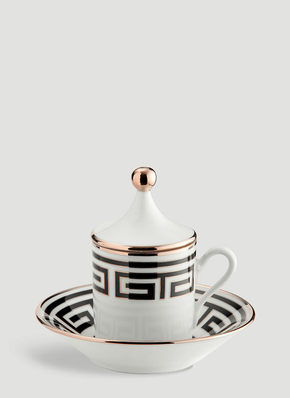Ginori 1735 Labirinto Tête À Tête Coffee Set, 2 Coffee Cups With Covers And Saucers Impero Shape 1