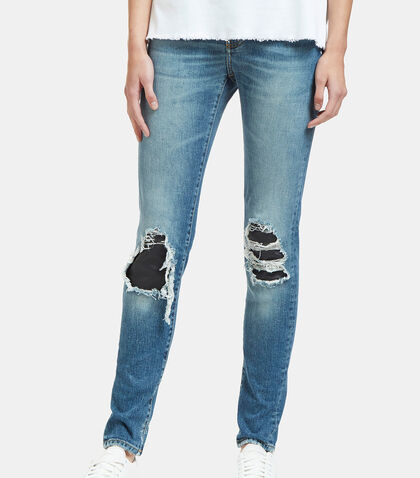 Destroyed Leather Patch Skinny Jeans