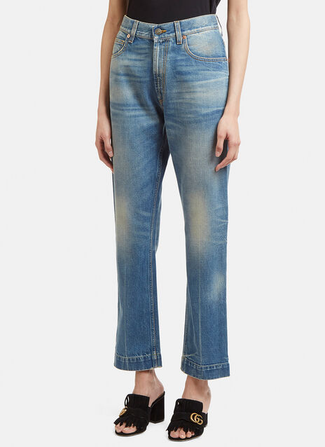 Gucci Slim Fit Feline Patch Jeans