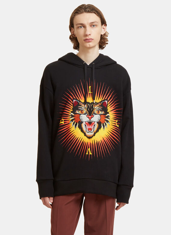 b65c99a55d5 Gucci. Angry Cat Embroidered Hooded Sweater in Black