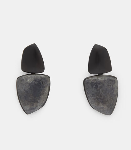 24919 Ebony and Oxidised Copper Clip-On Drop Earrings