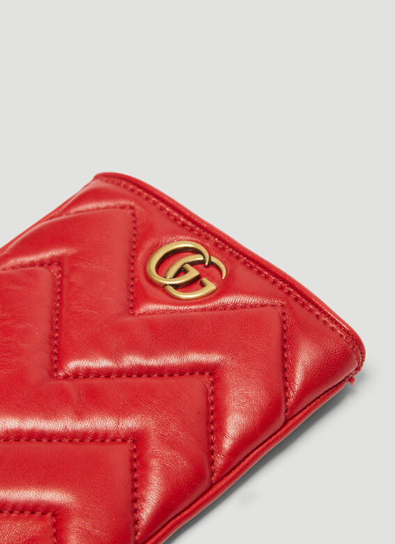 726457082b174 Gucci Marmont Chevron Leather Gloves in Red   LN-CC