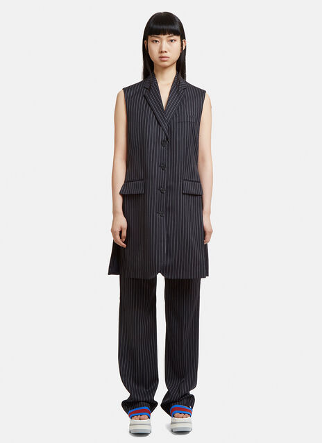 Stella McCartney Sleeveless Pinstripe Single Breasted Jacket