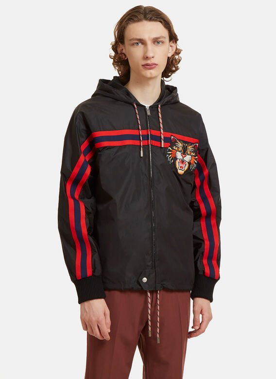 8e3952cf4 Angry Cat Embroidered Windbreaker Jacket in Black