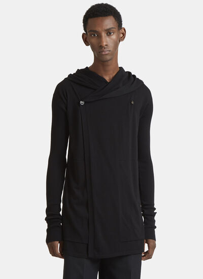 Rick Owens Drape Hooded Cotton Knit Cardigan