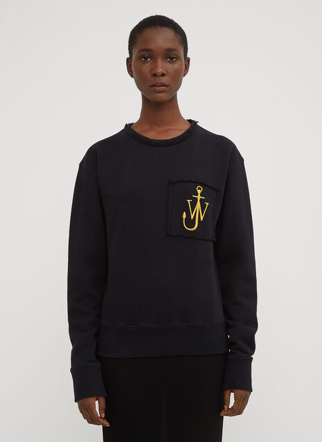JW Anderson Embroidered Logo Pocket Crew Neck Sweatshirt