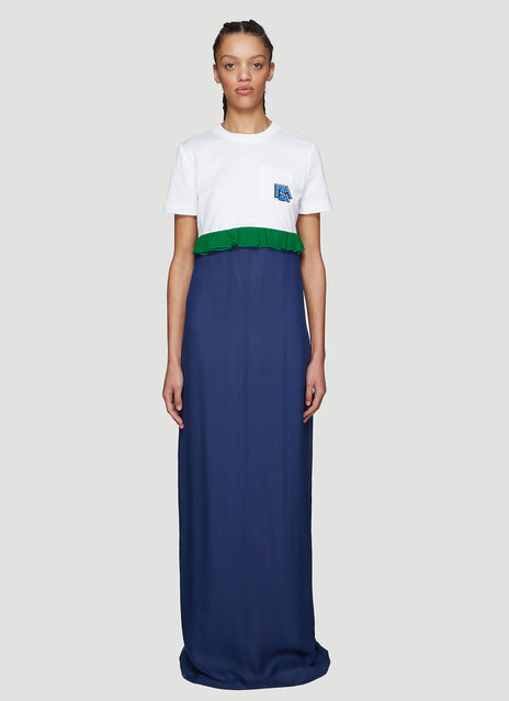 Prada Ruched T-shirt Chiffon Dress