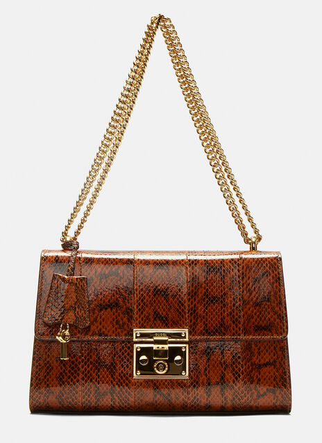 Gucci Medium Padlock Python Shoulder Bag