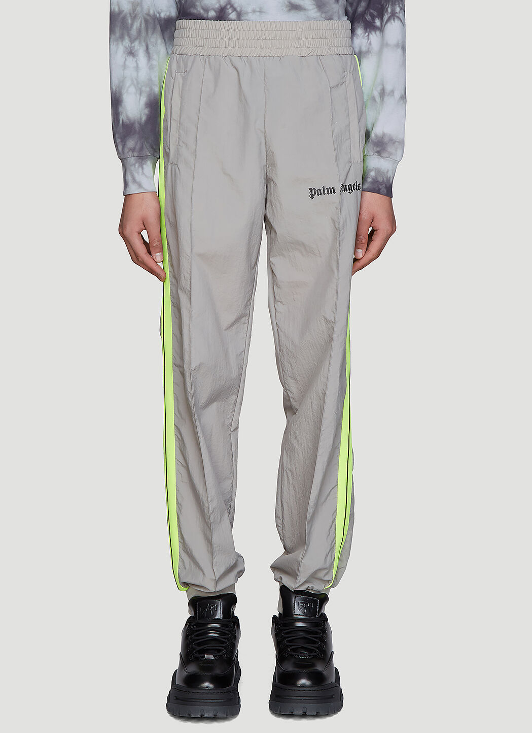 Palm Angels Pants Loose-Fit Nylon Track Pants in Grey