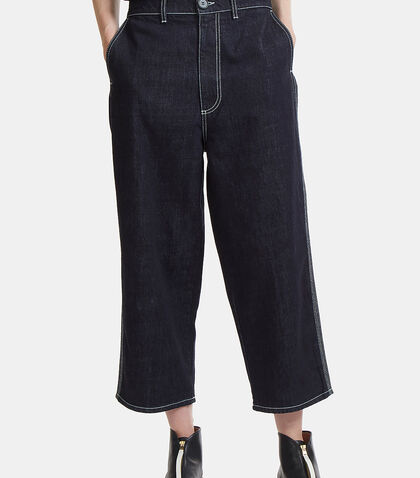 Oversized Contrast Stitch Denim Pants