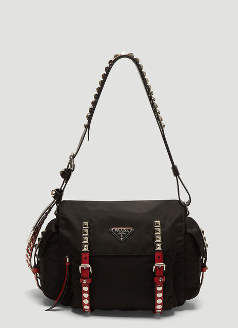 Prada Nylon Stud Shoulder Bag