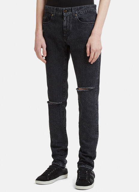 Saint Laurent Destroyed Knee Low Waist Skinny Jean