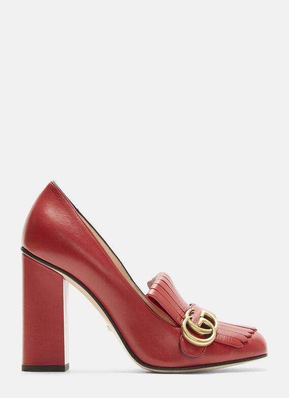 86ed56838ce Gucci GG High-Heel Fringed Marmont Pumps in Red | LN-CC