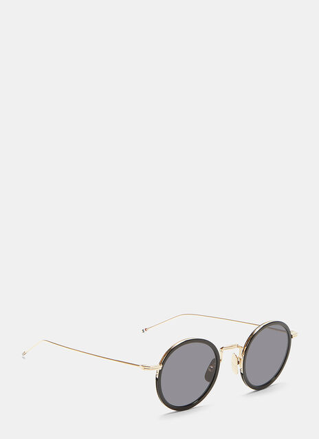 Gold-Rimmed Round Frame Sunglasses