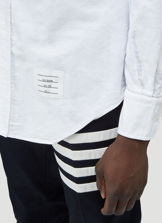 Thom Browne CLASSIC LONG SLEEVE BUTTON DOWN POINT COLLAR SHIRT W/ GG ARMBAND IN OXFORD 4
