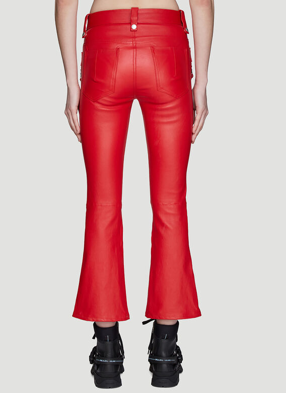Unravel Project Lace-up Flared Leather Pants