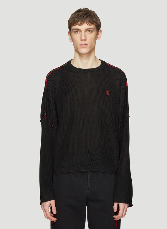 9fe8fbd5779 Raf Simons Big Sleeved Cropped Sweater in Black