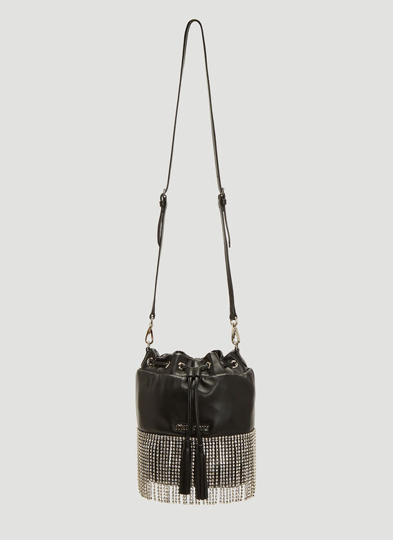 be5bcbee8ebf Miu Miu Crystal Fringe Bucket Bag in Black