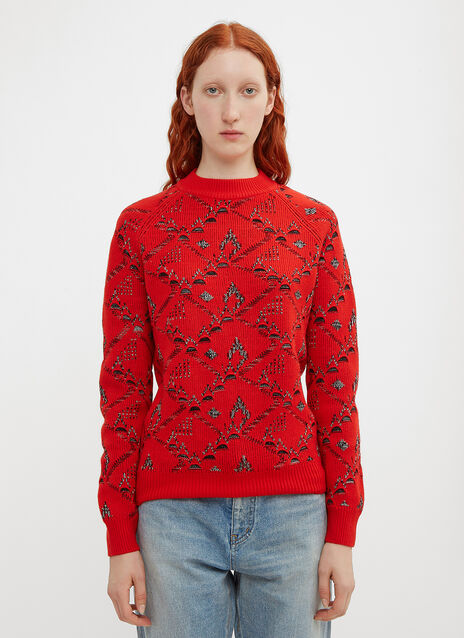 Saint Laurent Floral Jacquard Sweater