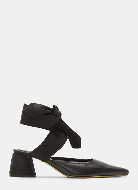 Ellery Moire Wrap-Around Leather Court Shoes