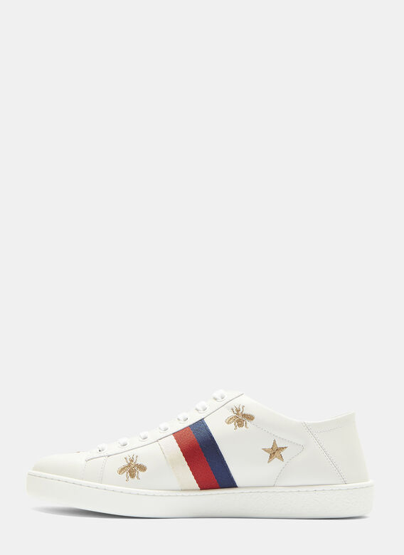 b35470a80ae Ace Bee and Star Embroidered Sneakers in White