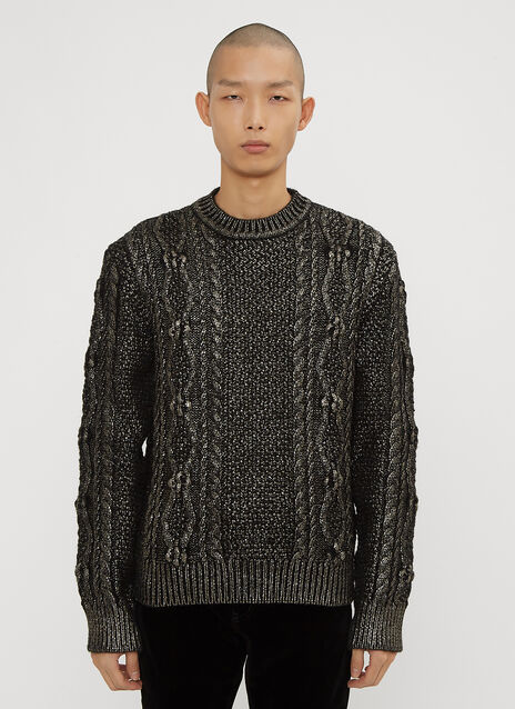 Saint Laurent Lamé Aran Knit Sweater