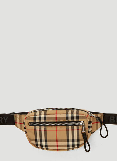 버버리 Burberry Vintage Check Small Belt Bag in Beige
