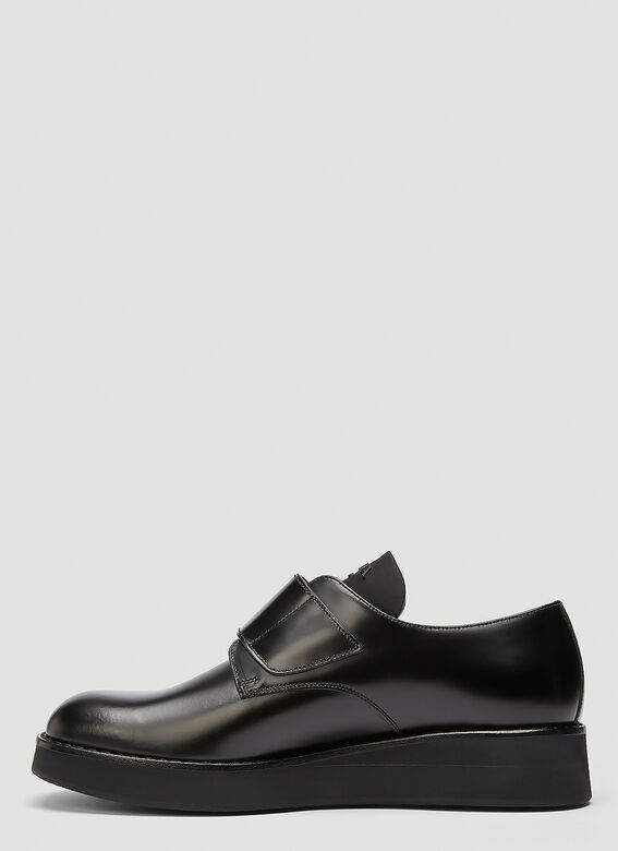 Prada Brushed leather Derby shoes with shoe strap 3