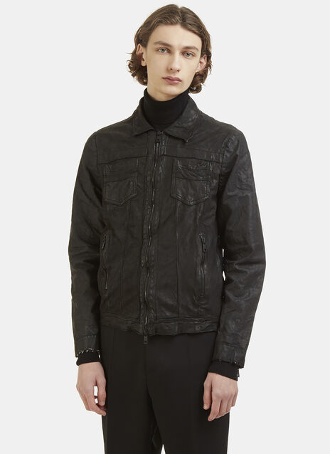 Giorgio Brato Leather and Denim Jacket