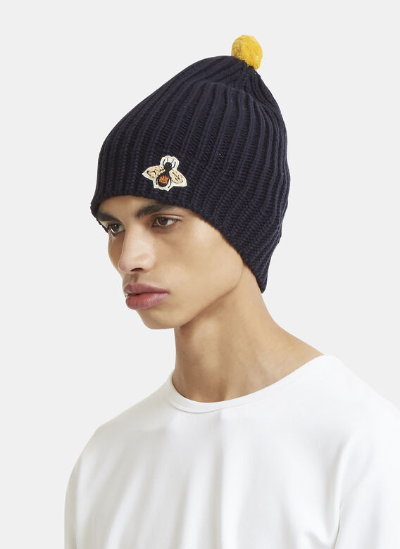 64297f685 Gucci Bee Embroidered Ribbed Bobble Hat | LN-CC
