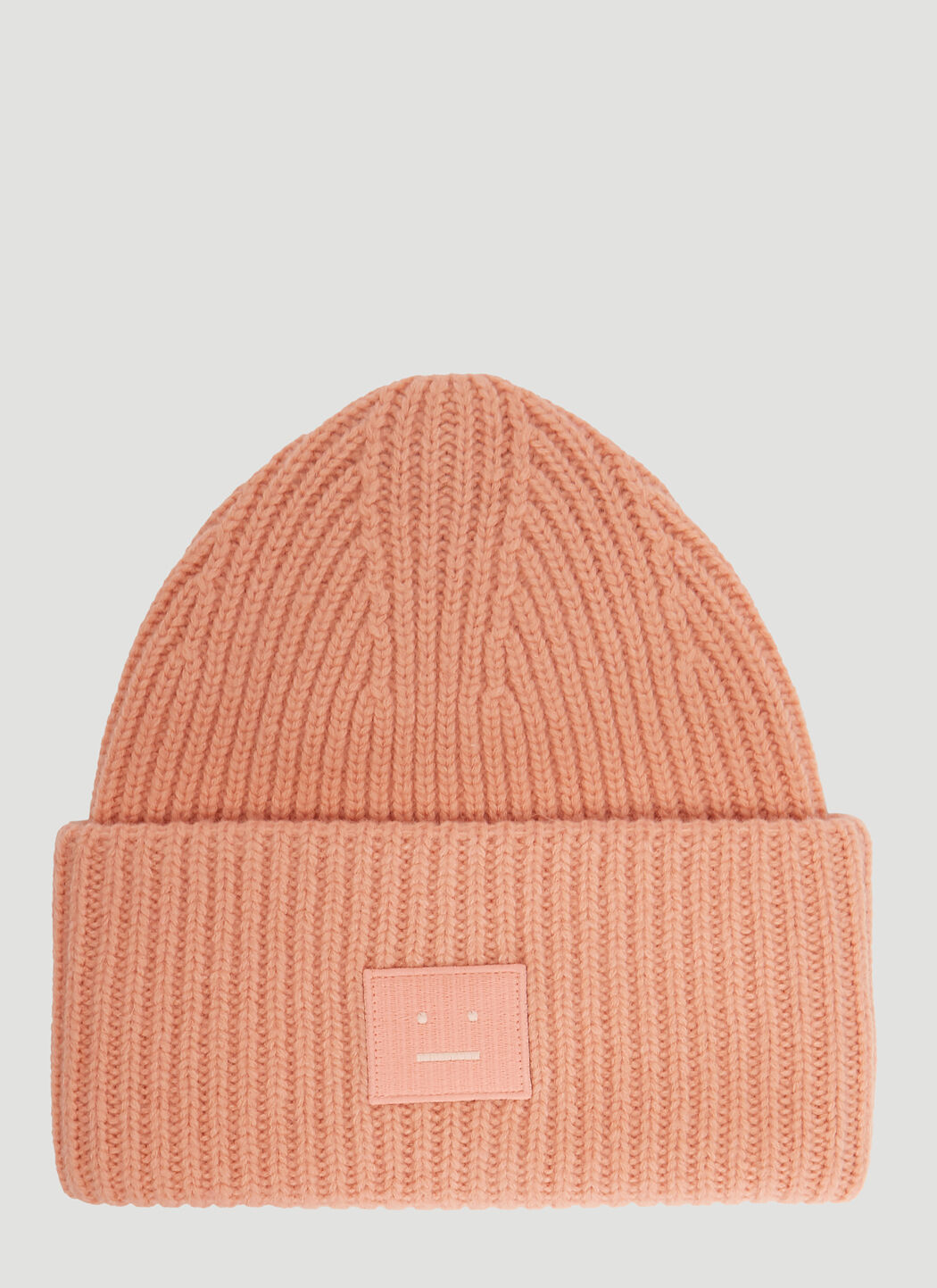 ef412b7d378 Acne Studios Pansy S Face Ribbed-Knit Beanie Hat In Light Pink ...