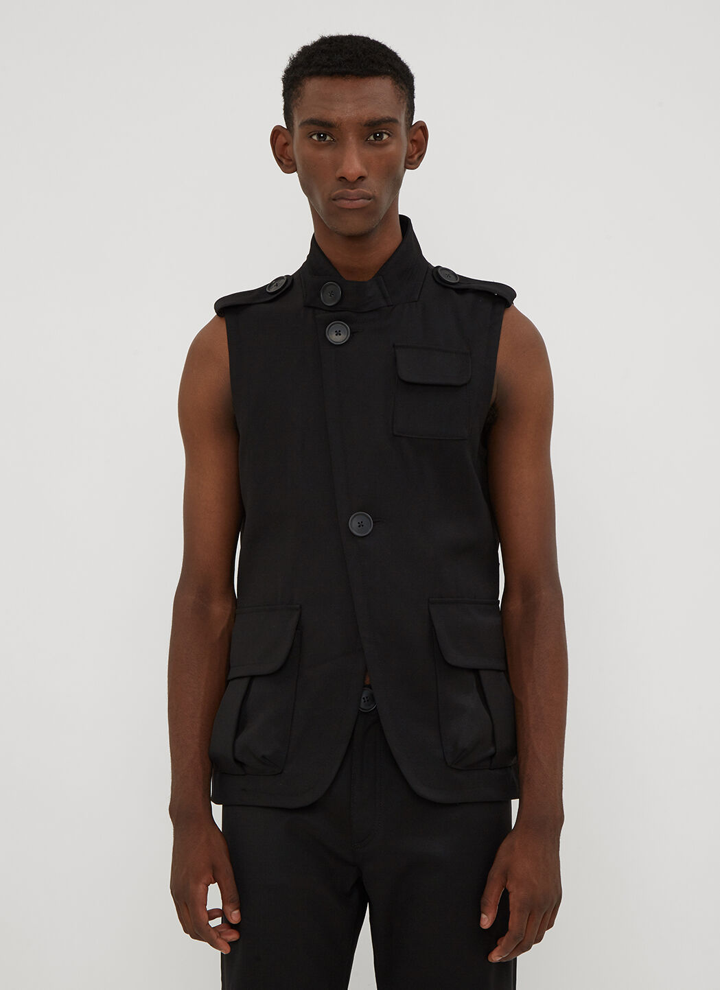 Wales Bonner Military Sleeveless Jacket in Black