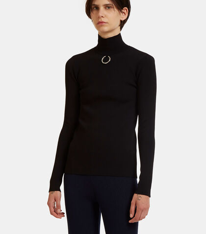 Metal Ring Roll Neck Technical Sweater