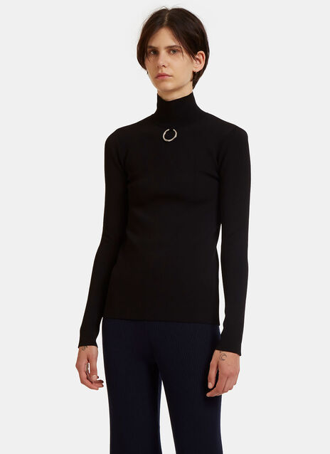 Stella Mccartney Metal Ring Roll Neck Technical Sweater