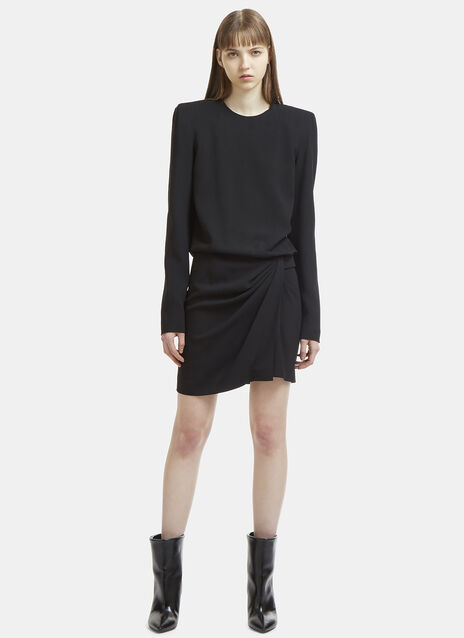 Boxy Square Shoulder Draped Mini Dress