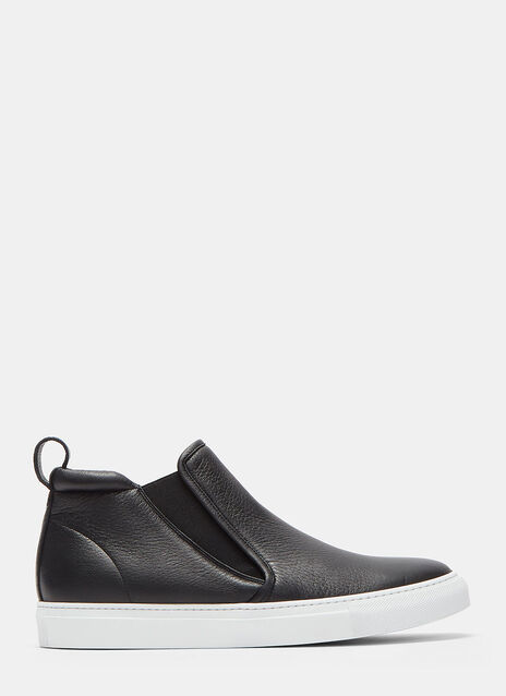 High-Top Slip-On Grained Leather Sneakers