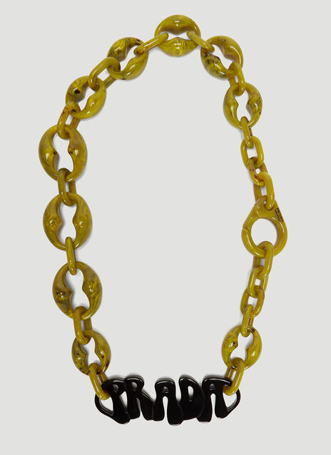 Prada Plexiglas Logo Necklace