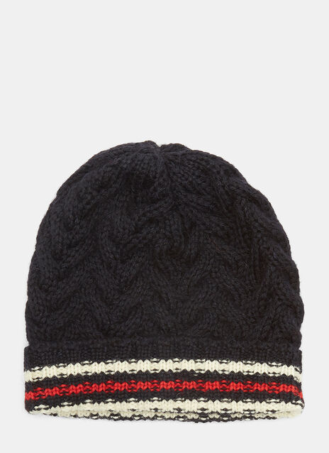 Striped Cable Knit Beanie Hat