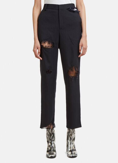 Facetasm Cut-Out Pinstripe Pants