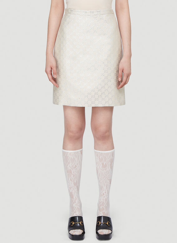 Gucci Lamé Skirt in White