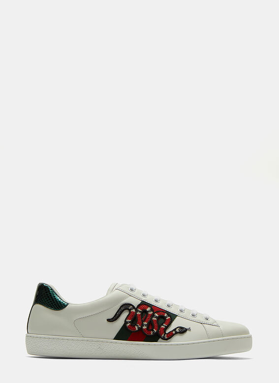 4da6eeb17a3 Ace Snake Embroidered Sneakers in White