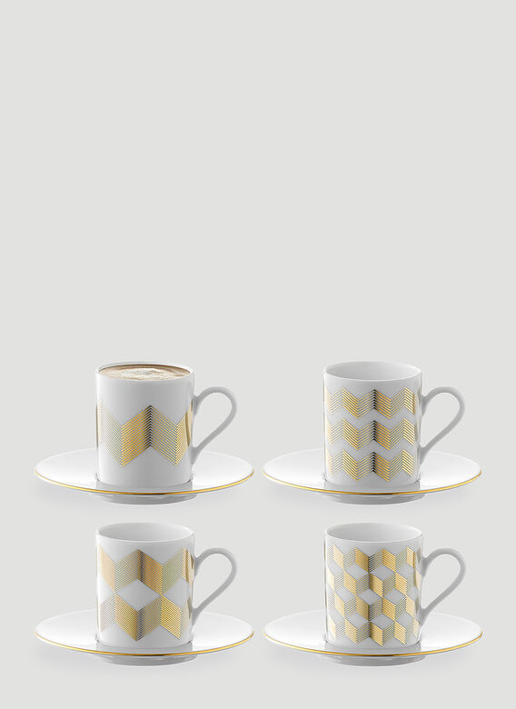 LSA International Set of Four Chevron Coffee Cup and Saucer 1