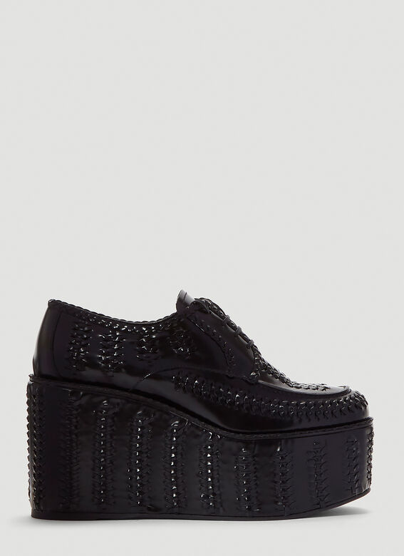 Prada Boots Stitched Wedges in Black