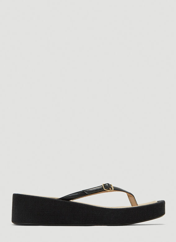 Jacquemus Les Tatanes Leather Sandals in Black