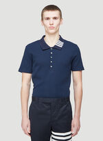 Thom Browne SHORT SLEEVE POLO W 4 BAR COLLAR IN 5X2 RIB