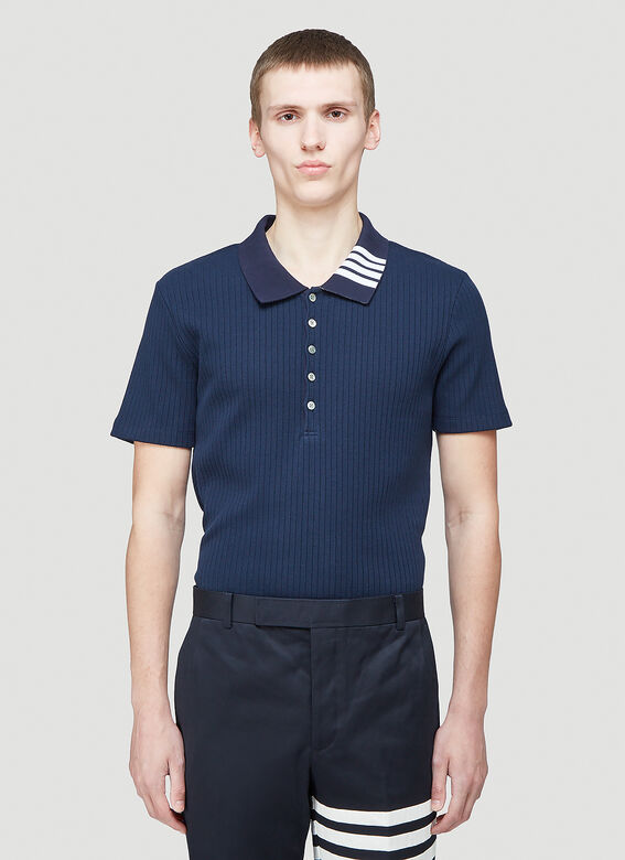 Thom Browne SHORT SLEEVE POLO W 4 BAR COLLAR IN 5X2 RIB 1